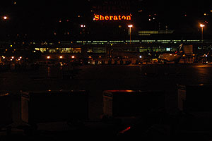 Sheraton hotel and Toronto airport at night