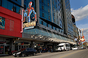 Spider-Man and Hard Rock Café on Main Street in Niagara Falls