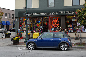 blue Cooper Mini in front of Pnocchio`s Pick of the Crop Oakville