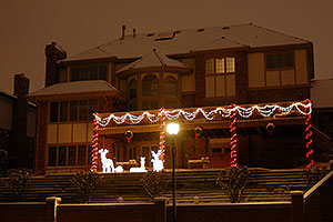 Christmas lights on a house in Lone Tree