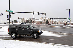 black Hummer H3 at Lincoln and Yosemite Rd in Lone Tree