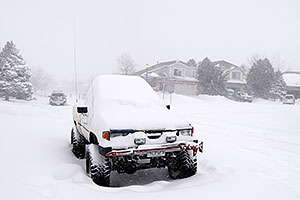 Toyota truck during a snowstorm in Highlands Ranch