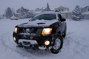 Xterra during a snowstorm in Highlands Ranch