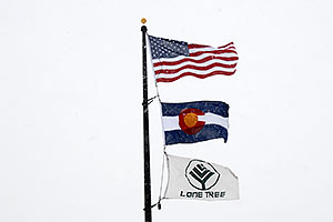 3 flags - US flag, Colorado flag and Lone Tree flag