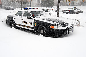 Lone Tree Police car during a December snowstorm