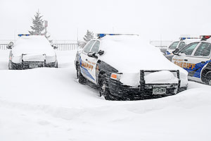 Douglas Sheriff Police cars grounded during a snowstorm
