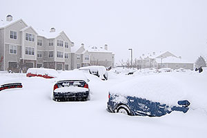 ad-hoc parked cars during a December snowstorm