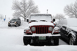 red Jeep Wrangler in Englewood