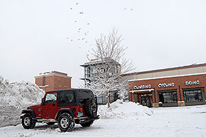 red Jeep Wrangler in front of REI #61with 23 birds flying in the sky