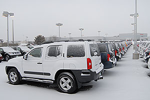 white Nissan Xterra and others at GO Nissan on Arapahoe Rd