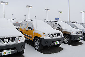 yellow Nissan Xterra at GO Nissan on Arapahoe Rd