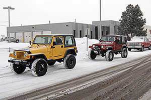 red and yellow Jeep Wranglers at Lithia Jeep
