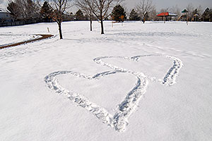 hearts in the snow in Sweetwater Park