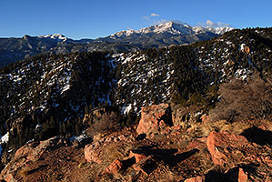 view of Pikes Peak … along Rampart Range Road