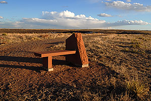 bench at the top of Bluffs Regional Park Trail