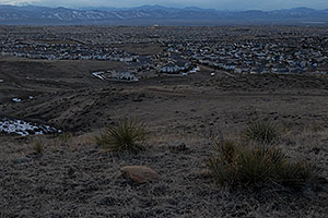 view of Highlands Ranch from Bluffs Regional Park Trail