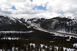 view of I-70 and Eisenhower Tunnel from Loveland Pass