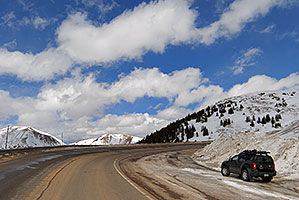Xterra along the road up to Loveland Pass