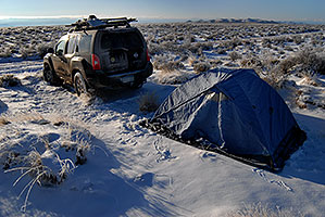 camping in the morning near Great Sand Dunes