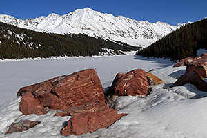 view of frozen Clinton Gulch, near Fremont Pass