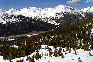 view of I-70, east of Eisenhower Tunnel - view down from Loveland Pass