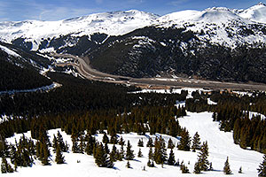 view of I-70 west and Eisenhower Tunnel - view down from Loveland Pass