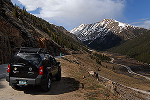 Xterra with Mount Champion at 13,646 ft in the background … road down the Twin Lakes side of Independence Pass