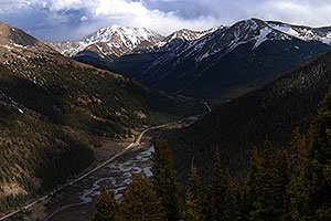 view towards Twin Lakes from Independence Pass Road, with La Plata Peak at 14,336 ft