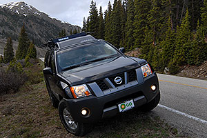 my Xterra near bottom of road heading up to Independence Pass from Twin Lakes side