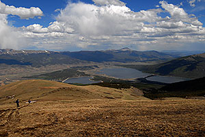 View of Twin Lakes and heart-shaped Mt Elbert Forebay … images along South Mt Elbert Trail