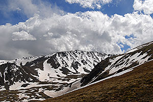 Bull Hill (13,761ft) dominates the view on the left on uphill along South Mt Elbert Trail