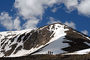 hikers walking down the north face of Mt Elbert, Colorado