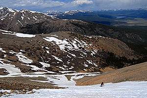 Skier skiing down Mt Elbert