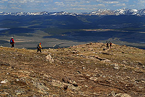 Skier and hiker with dogs  walking up the North Trail of Mt Elbert, Colorado