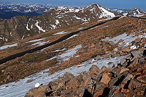 images of road of Mt Evans at 13,500 ft