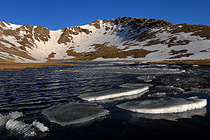 Ice floating on Summit Lake at 12,800 ft elevation