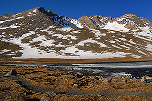 Summit Lake at 12,800 ft with view of Mt Evans