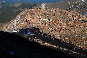 Semi and cars on parking lot of Mt Evans - 14,133 ft