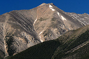 Closeup view of Mt Princeton from Buena Vista