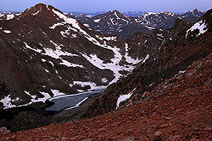 Abyss Lake (12,620 ft) in front of Mt Bierstadt (14,060 ft) on the left continuing into Sawtooth on the right … view from Mt Evans