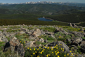 View of Echo Lake at 10,600 ft from Mt Evans Road at 12,000 ft