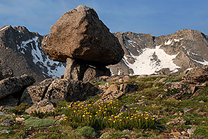 suspended rock by Summit Lake
