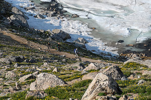 hikers walking by partially frozen Summit Lake at 12,600 ft
