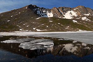 Ice floating on Summit Lake, elevation 12,600 ft