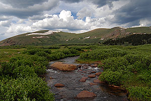 Scott Gomer Creek by Mt Bierstadt … Mt Spalding (13,842 ft) on the right