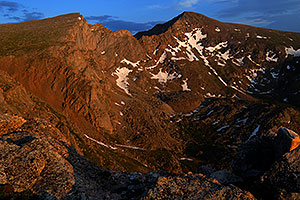 Last rays of light on The Sawtooth (13,780 ft, left) and Mt Bierstadt (14,060 ft, right)