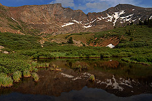 Reflections of The Sawtooth (13,780 ft, middle) and Mt Bierstadt (14,060 ft, right)