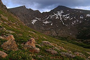 The Sawtooth (13,780 ft, left) and Mt Bierstadt (14,060 ft, right)