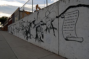 Art drawings on a wall in Riverton, Wyoming