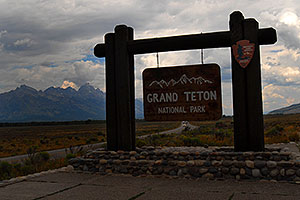 Grand Teton National Park sign from Jackson side